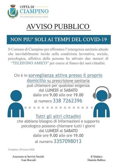 CIAMPINO. NON PIU' SOLI AI TEMPI DI COVID-19