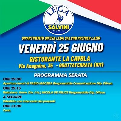 Grottaferrata. Programma del Dipartimento Difesa Lega Salvini Premier Lazio.